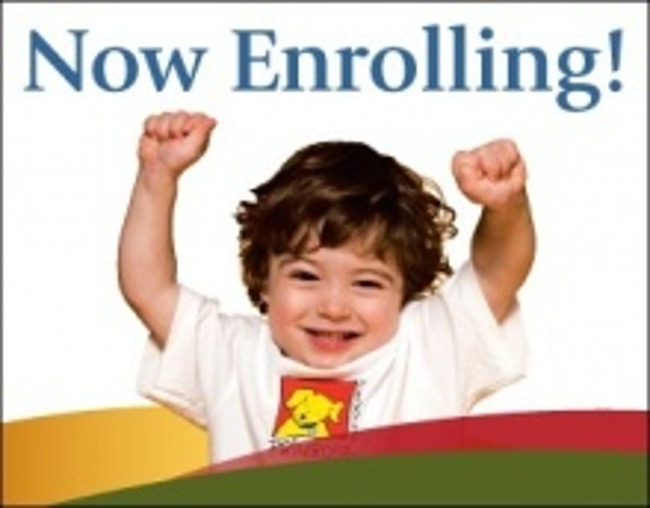 Now enrolling poster, featuring a happy little toddler boy in a Primrose uniform