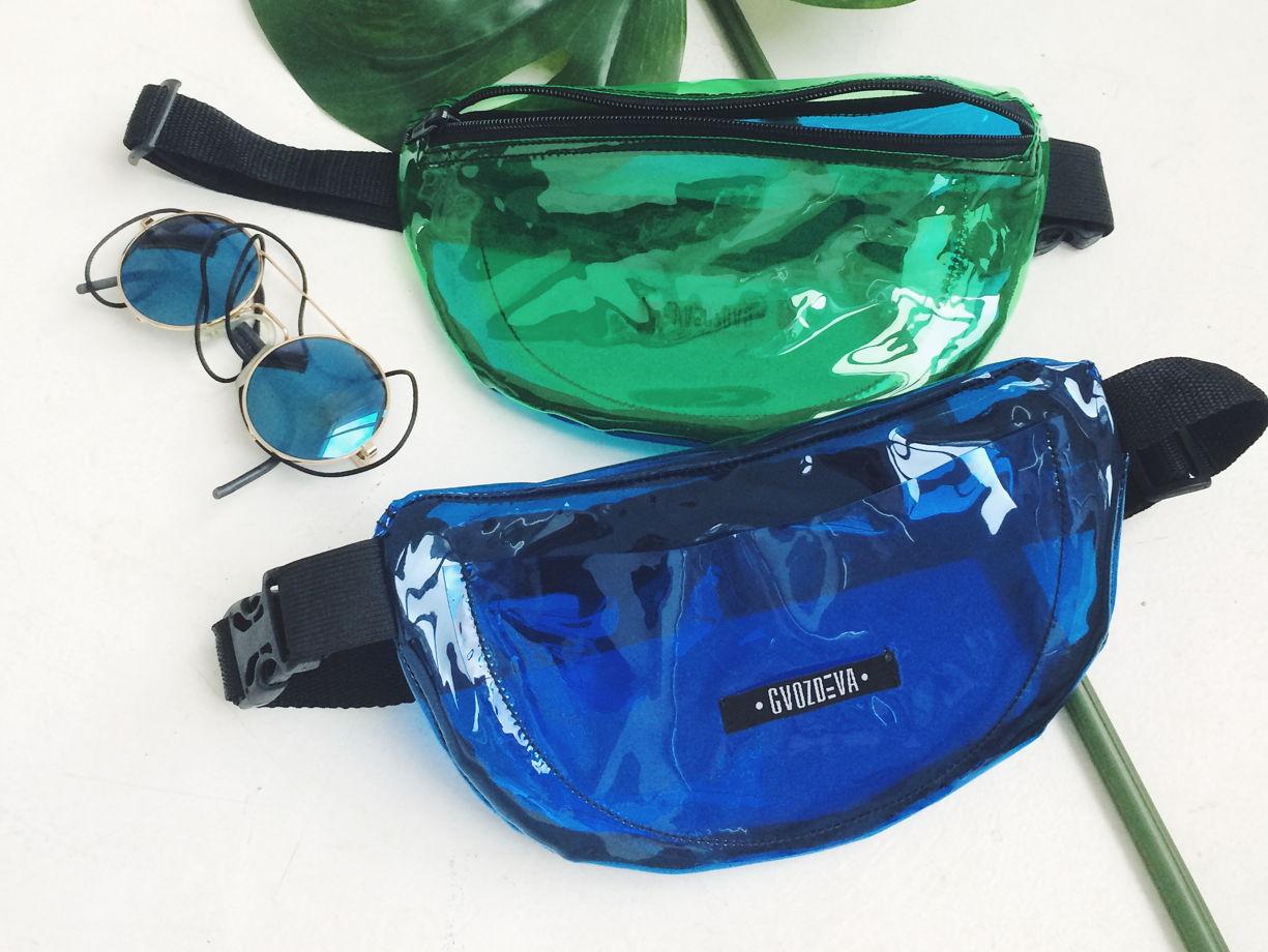 поясная сумка синий-винил GVOZDEVA