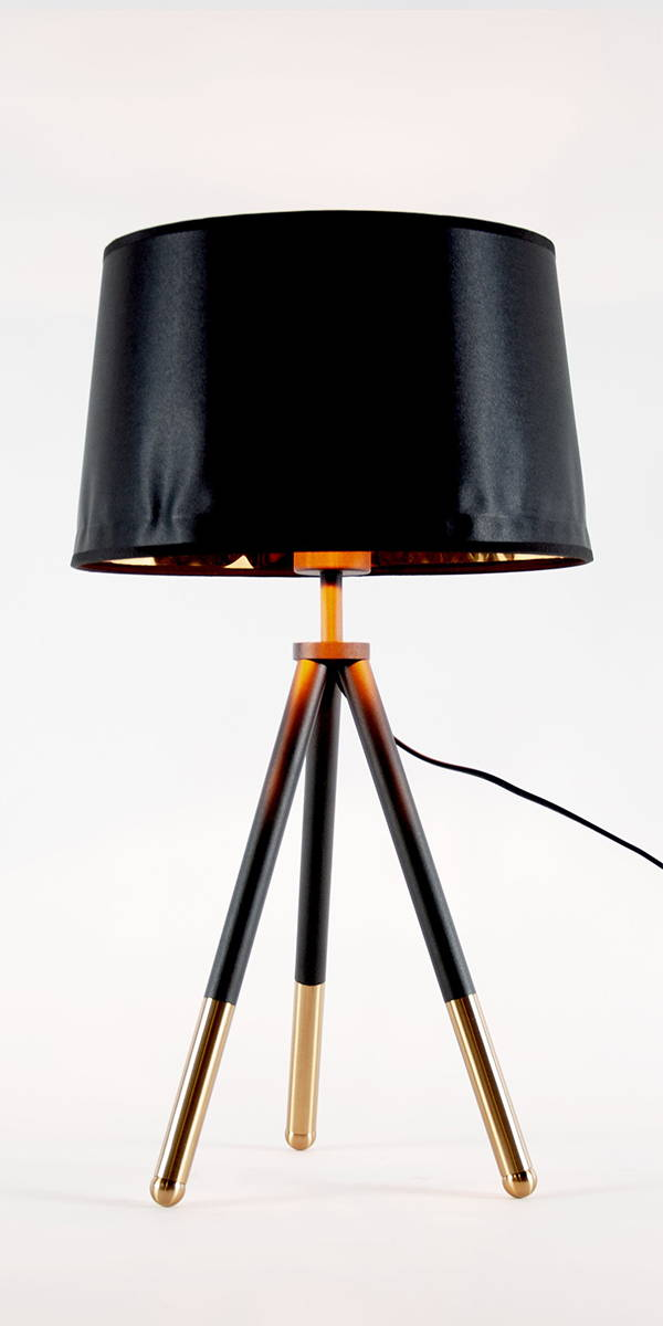 black and gold tripod table lamp