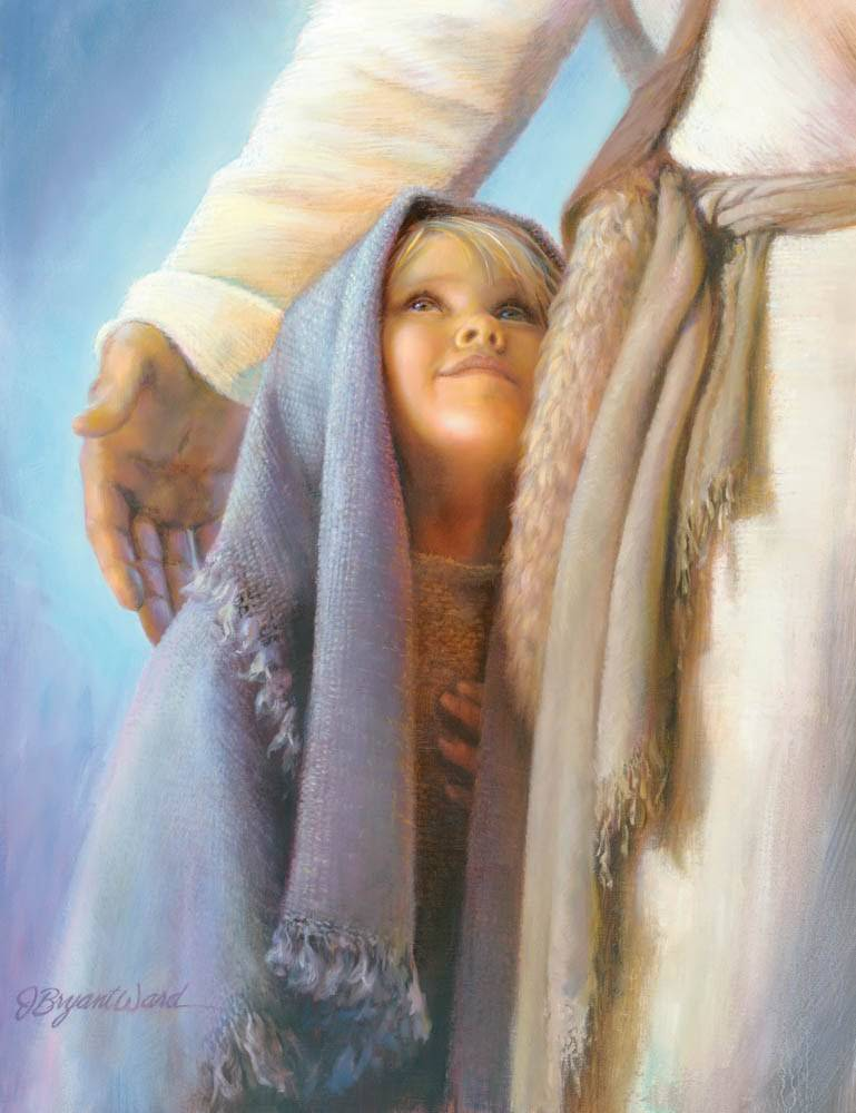 LDS art painting of a young child standing next to Jesus and looking up in admiration.