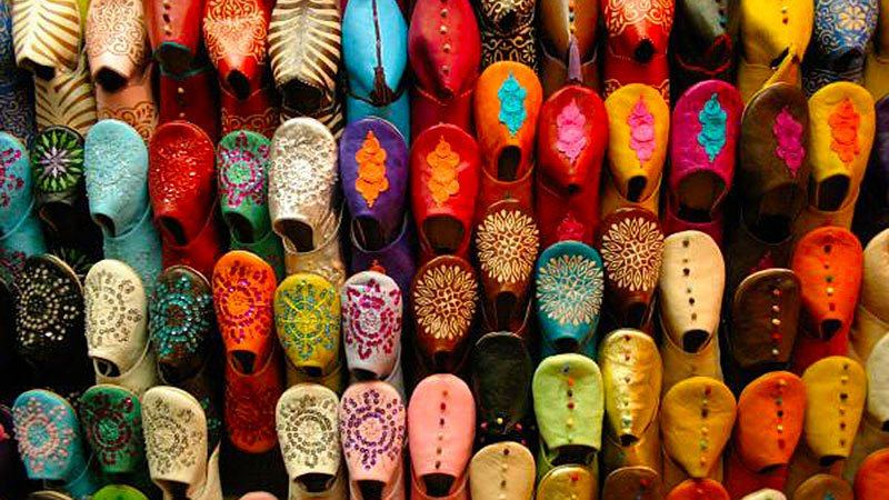 Colourful footwear, Marrakech, Morocco