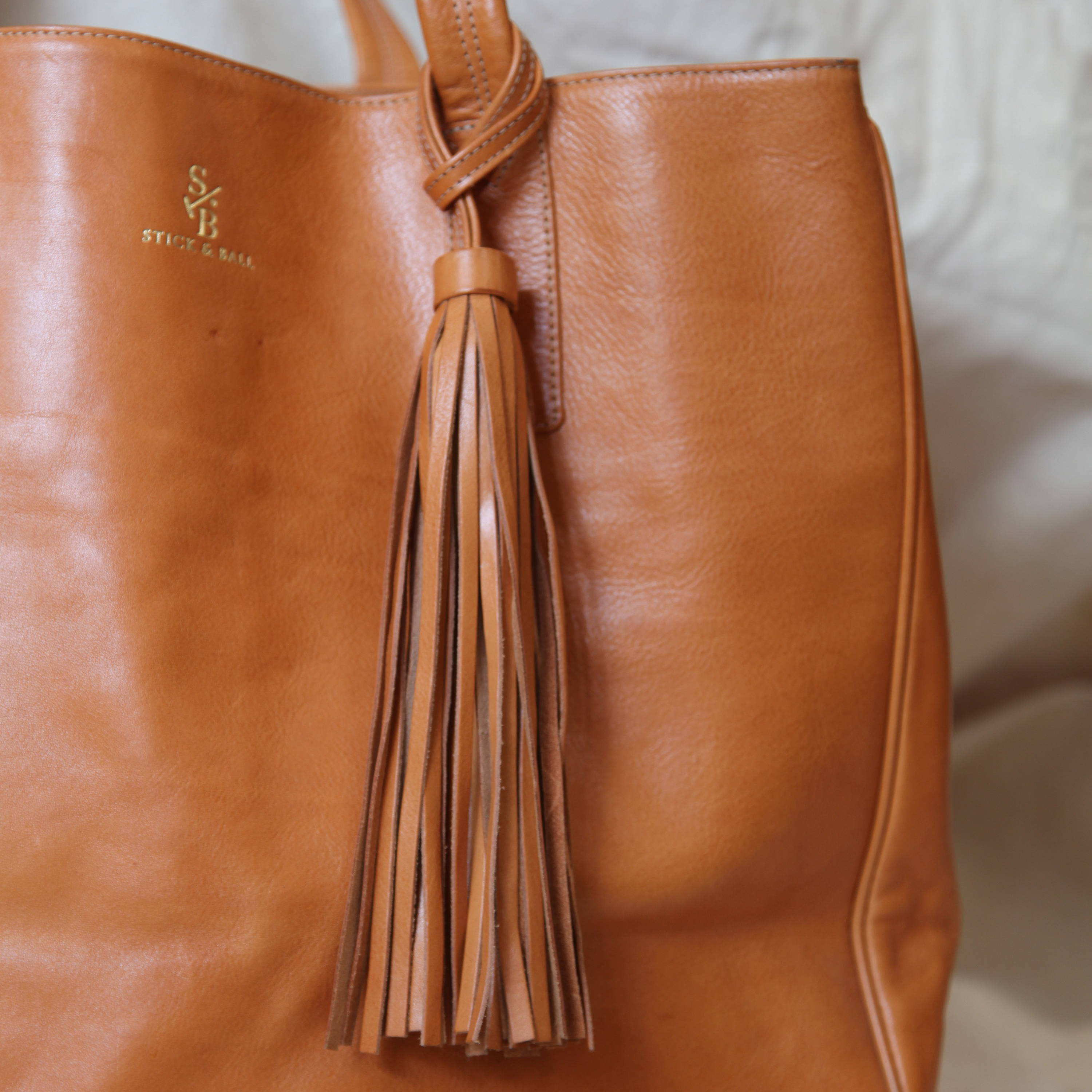Stick & Ball vegetable-tanned Italian leather Wellington Weekender tote bag in tan