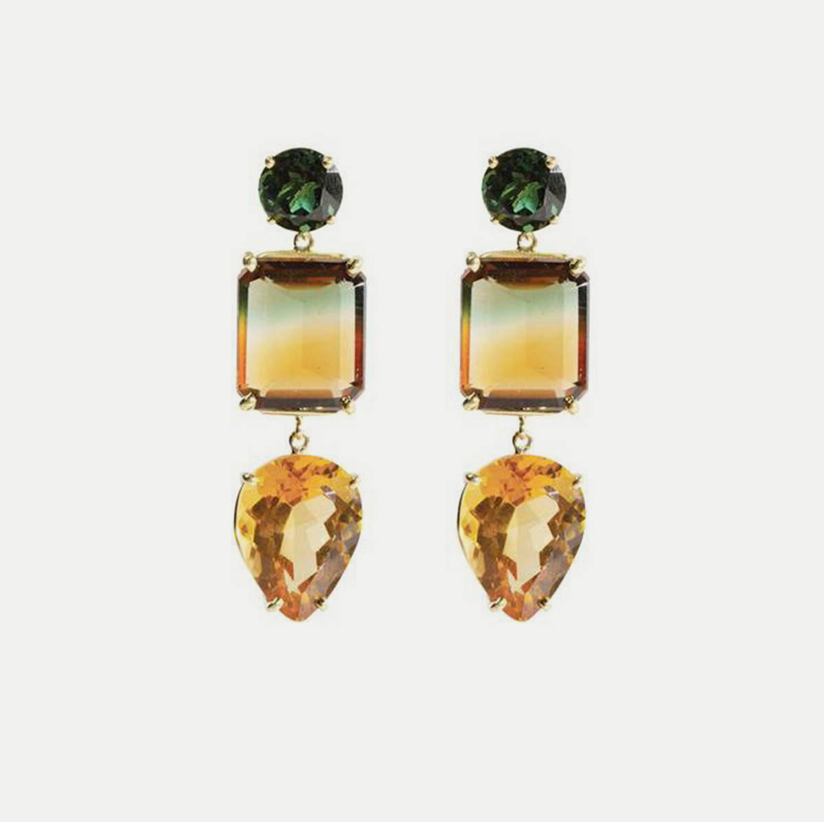 3-Drop Citrine Gemstone Earrings