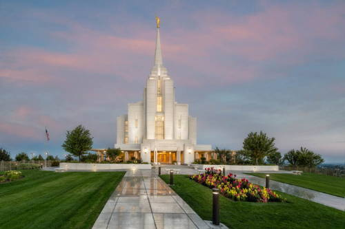 Picture of the Rexburg Temple reflecting against the pavement.
