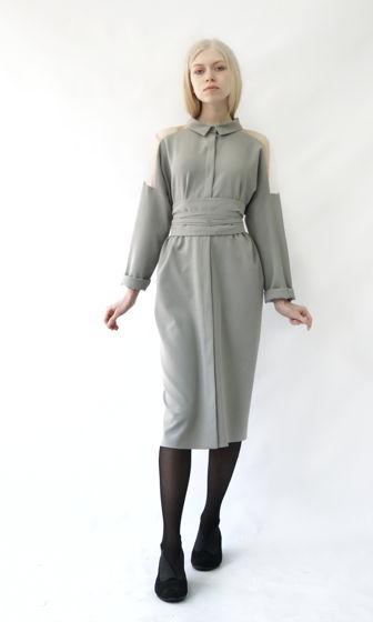 платье-рубашка  Фражиль с прозрачным плечом | серый