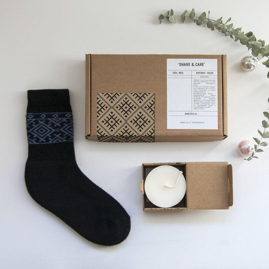 Подарочный набор: носки из шерсти и ангоры + ароматическая свеча