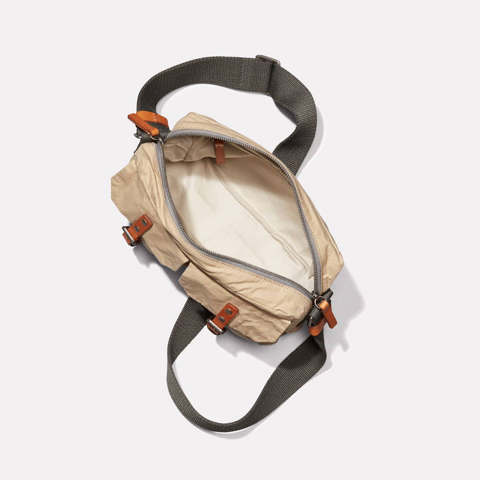 Franco Waxed Cotton Crossbody Bag in Putty Interior