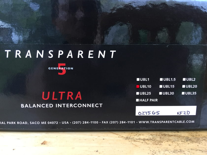 Transparent Audio ULTRA Generation 5 Balanced Interconnects XLR