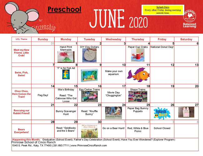 june preschool calendar