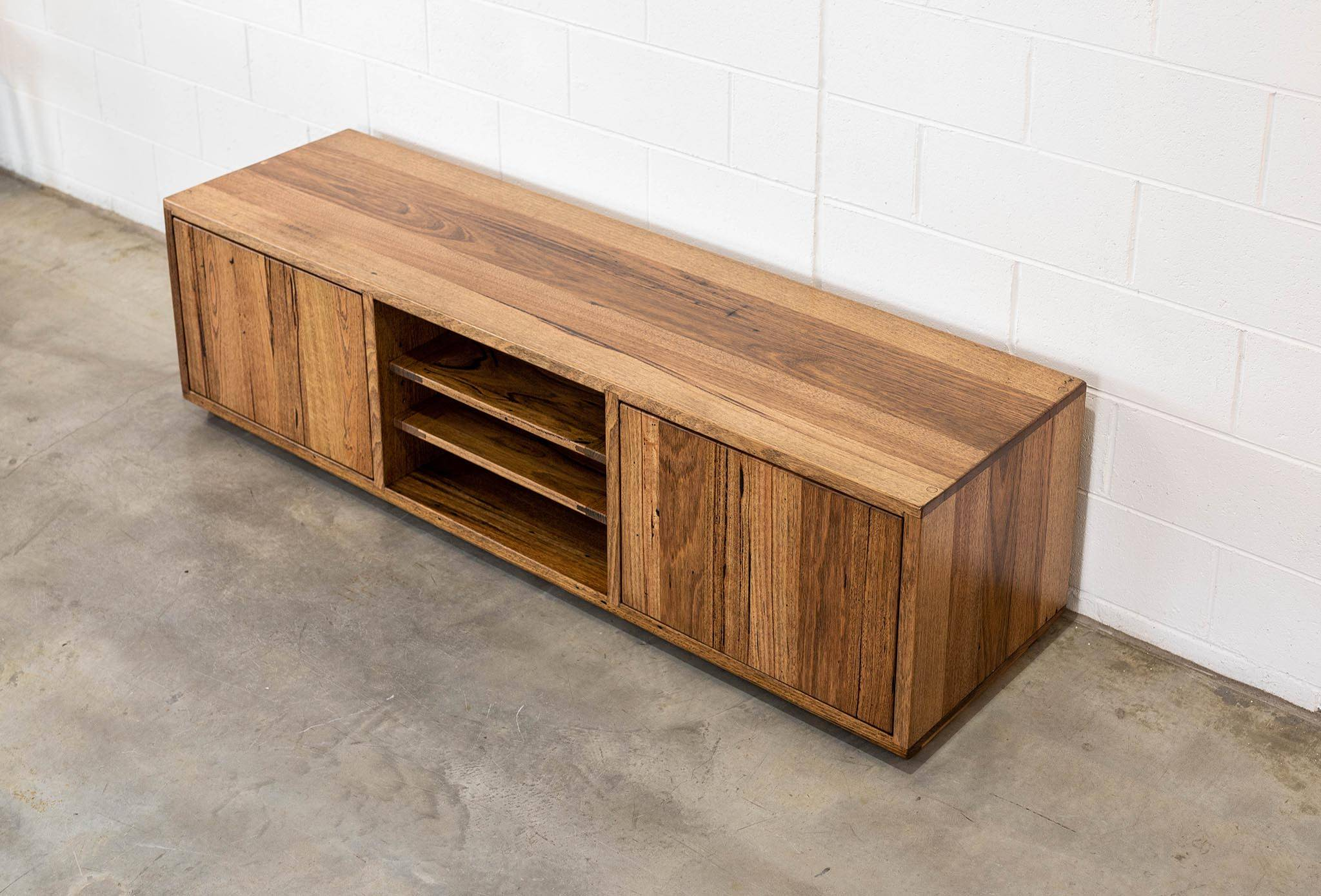 Recycled Timber Entertainment Unit Stringy Bark Push open Doors and Adjustable Shelves