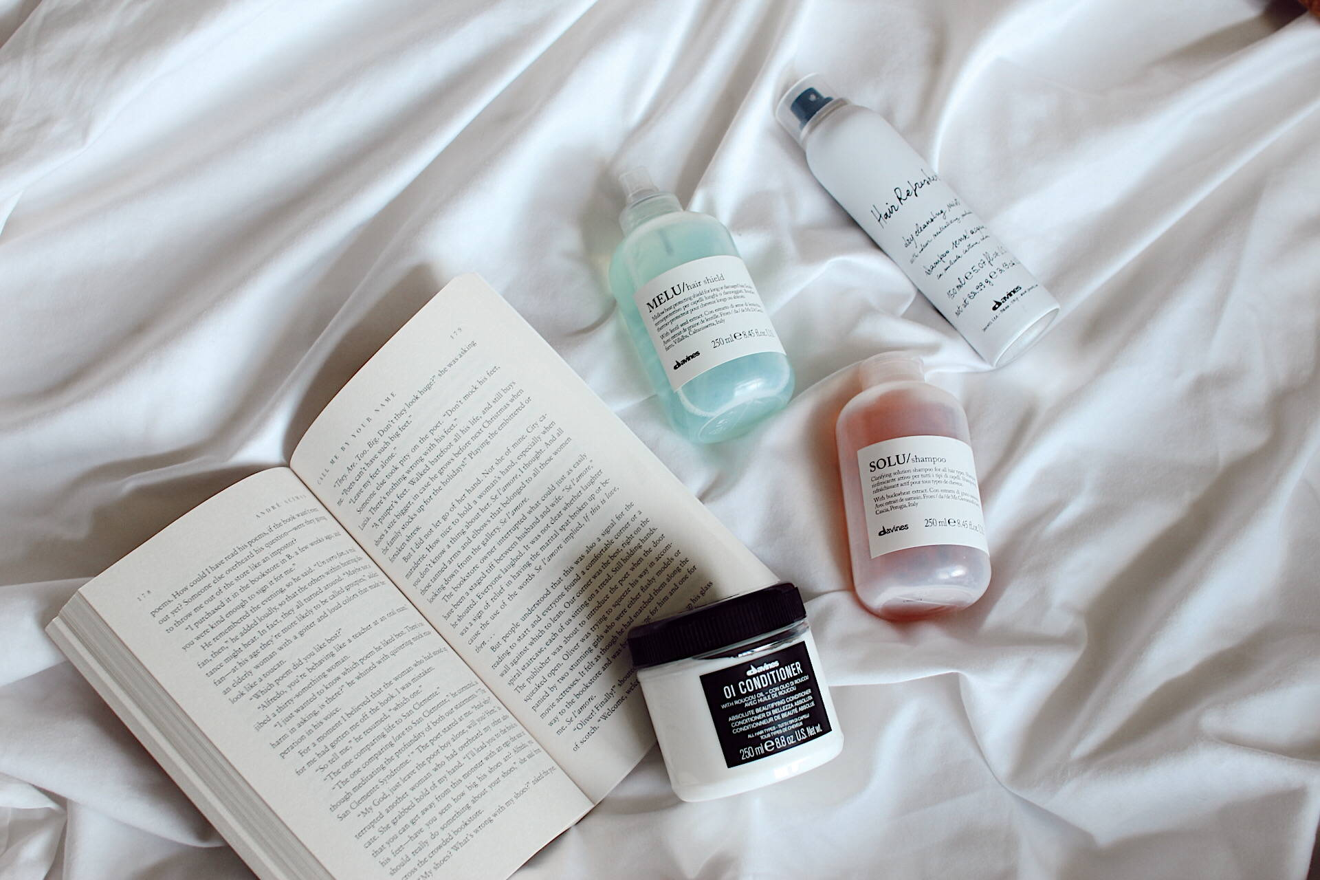 Davines products red white and blue reading