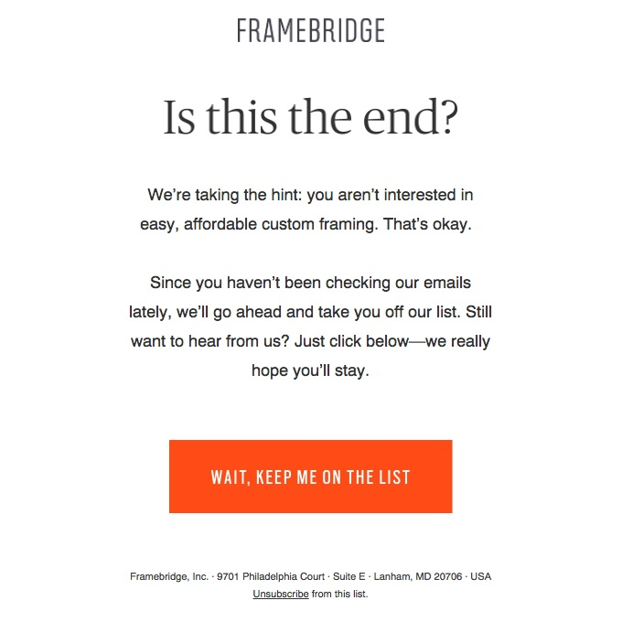 This re-engagement email from Framebridge shows that simplicity and automation is a good way to avoid losing subscribers--one of the top nonprofit email marketing mistakes.