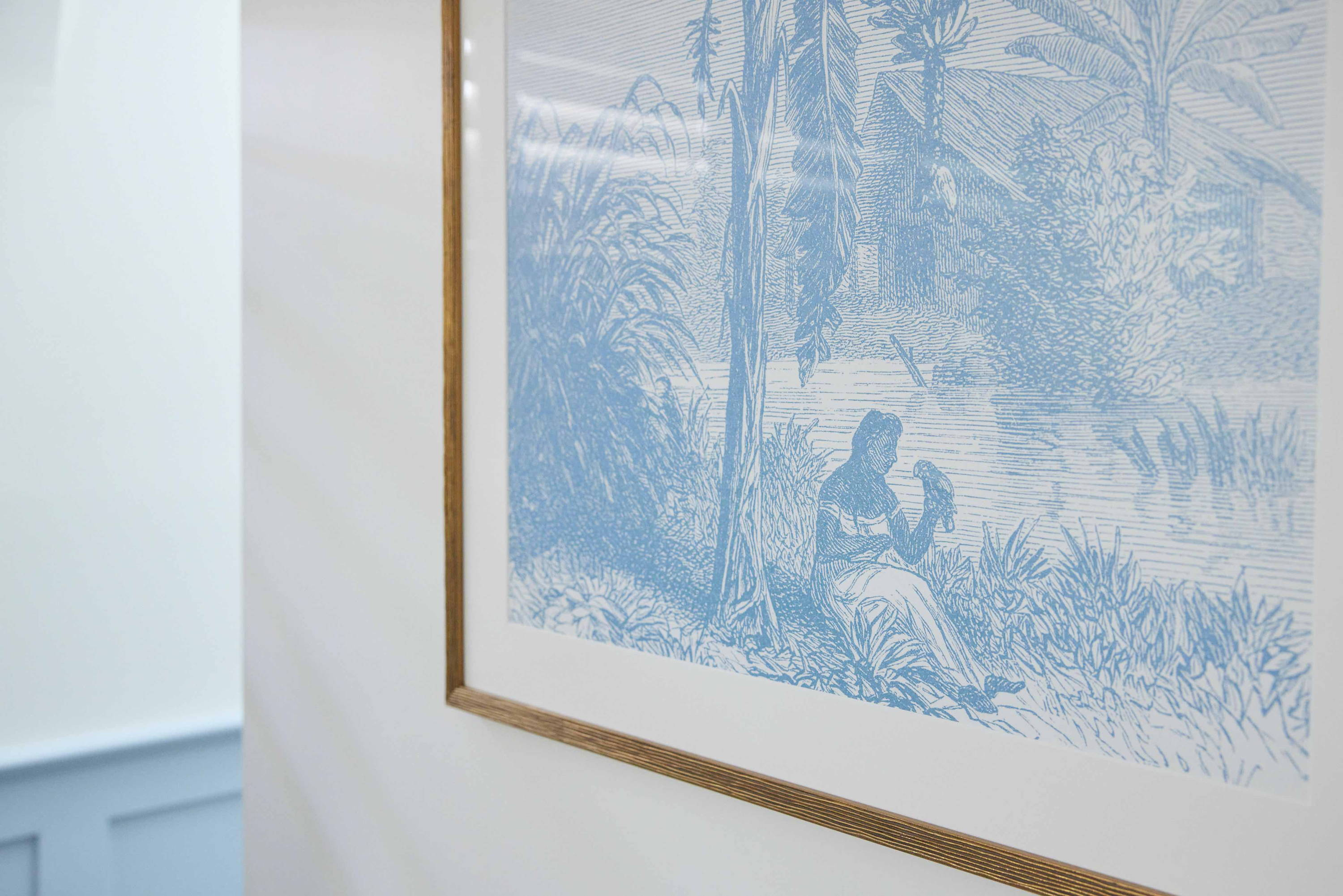 Framed Print in Kirsty and Jesse's The Block Guest Bedroom - A close up of a palm tree artwork framed in gold