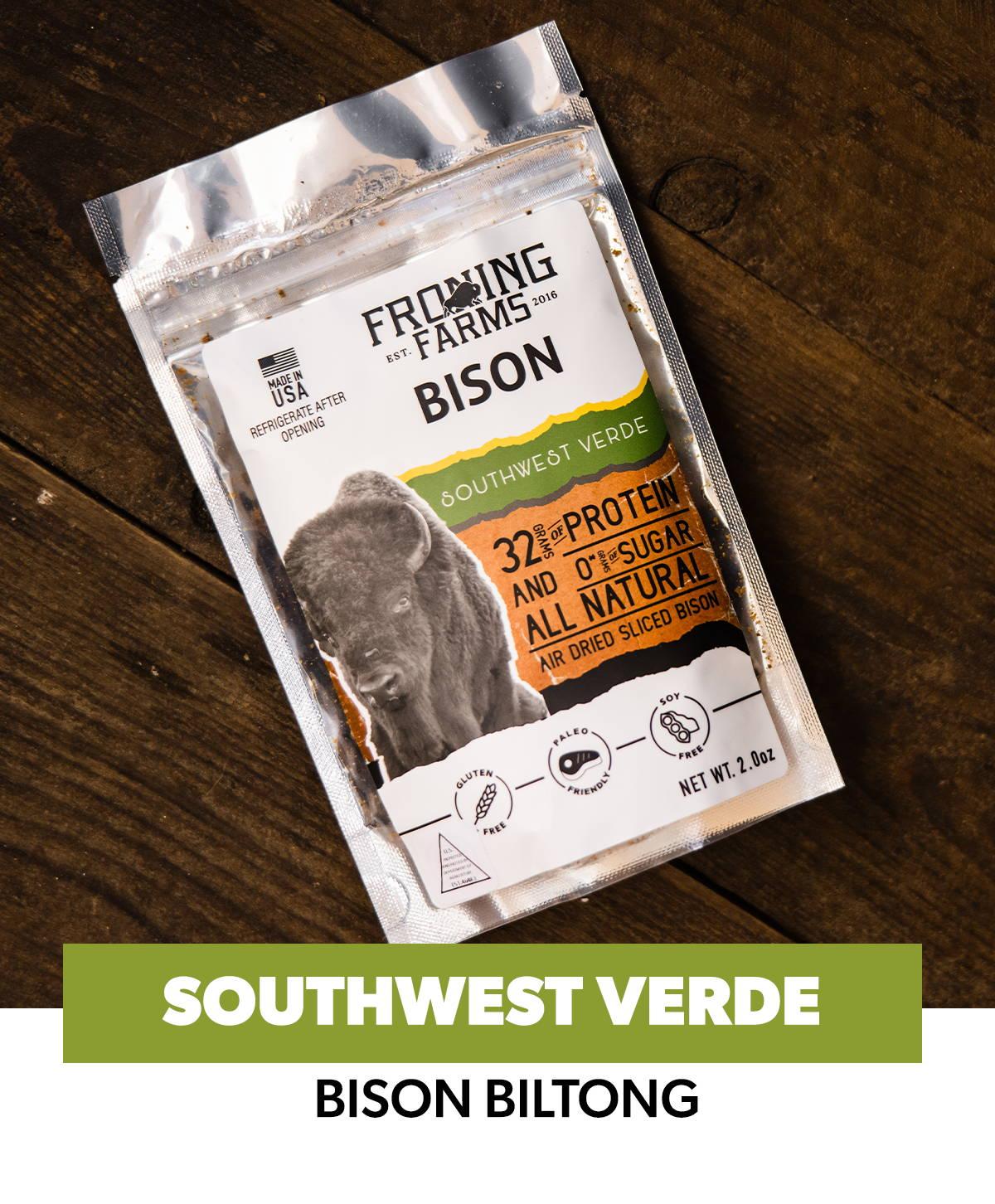 Froning Farms Bison Biltong Southwest Verde Flavor