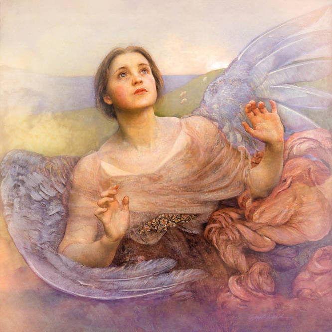 Classic painting of a colorful angel looking up toward the sky with wide eyes.