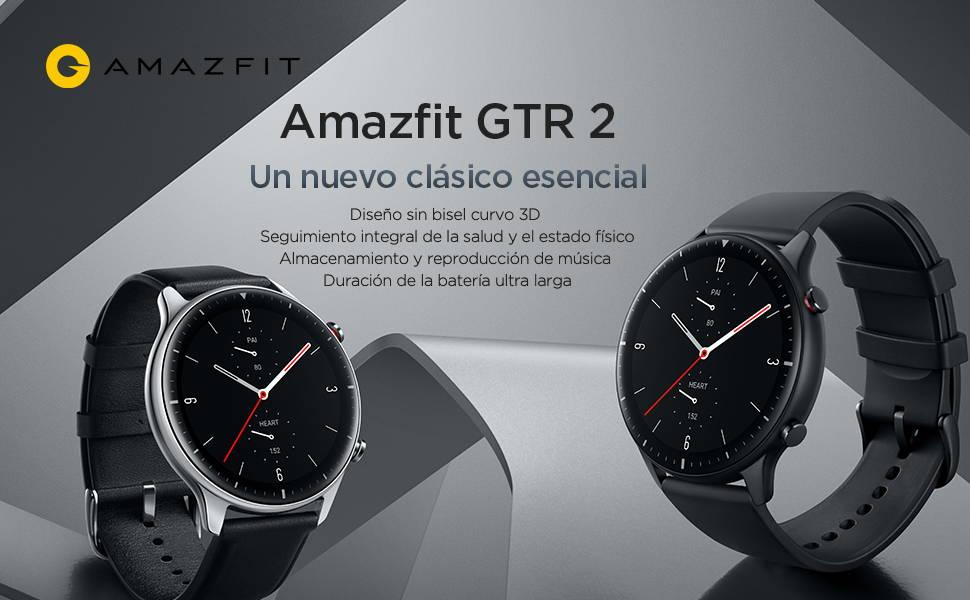 Amazfit GTR 2 - Un Nuevo Clásico Esencial Diseño curvo 3D sin bisel   Control completo de la salud y el estado físico Almacenamiento y reproducción de música   Autonomía ultralarga de 14 días