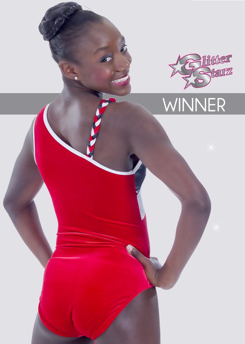glitterstarz winner leotard custom bling gymnastics wear red metallic