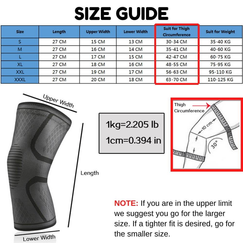 knee compression sleeve, knee brace sizes, what size knee brace should I buy. knee support
