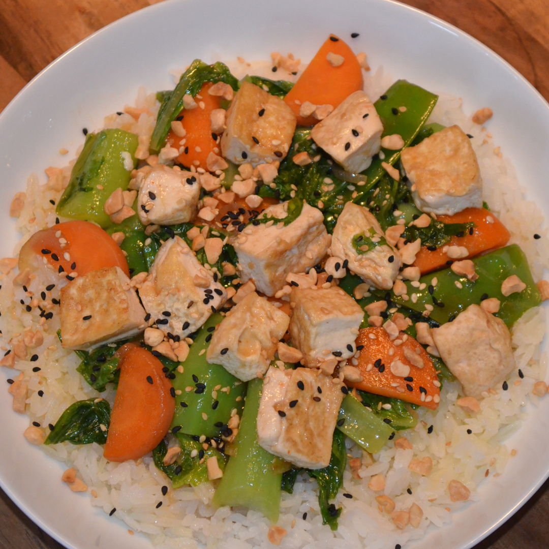 Date: 11 Jun 2020 (Thu) 142nd Main: Sesame Chinese Tofu with Ginger-Soy Veggies & Garlic Rice [385] [164.4%] [Score: 9.0] Cuisine: Chinese Dish Type: Main