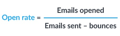 email open rates = emails opened divided by the total number of emails that hit inboxes