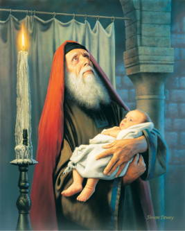 Painting of the prophet Simeon holding infant Jesus and looking up toward Heaven.