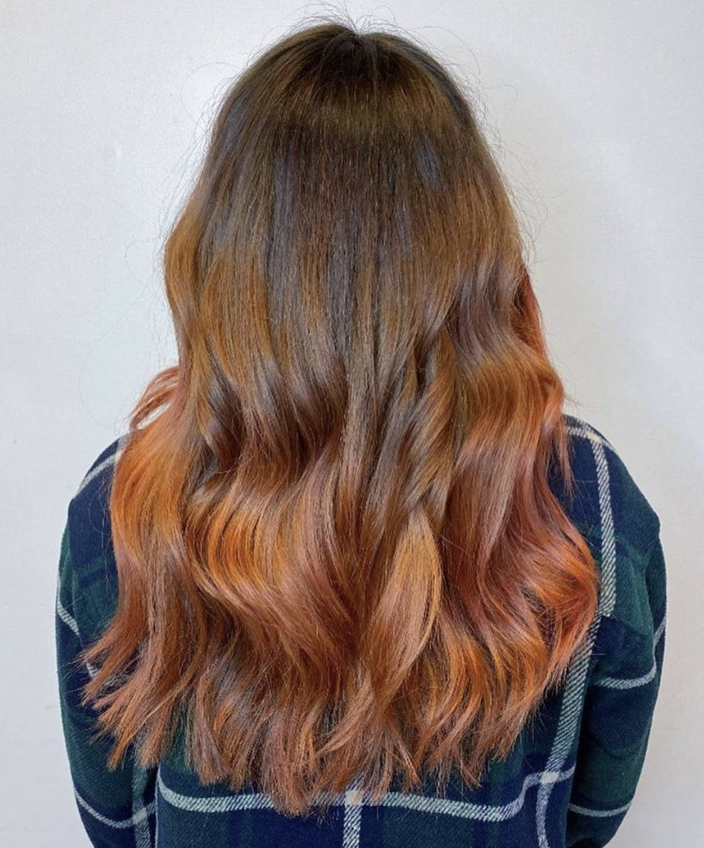 Light brown to copper red hair ombre example