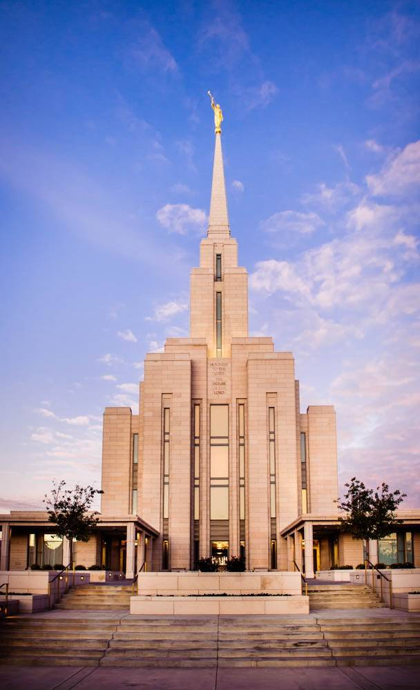 LDS art vertical photo of the Oquirrh Mountain Temple and the staircase leading up to the doors.