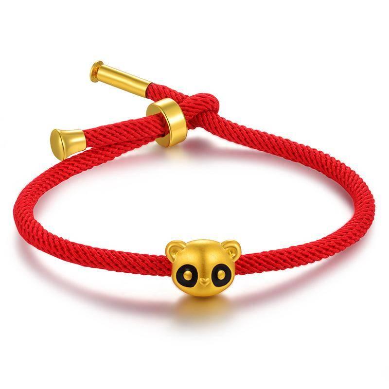 bracelet panda rouge medaillon en or