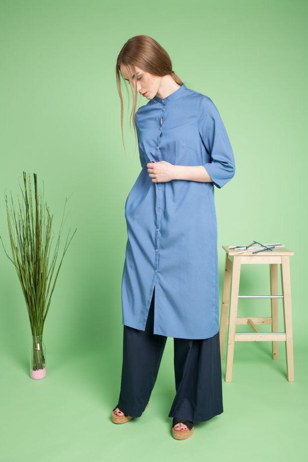 Рубашка-платье женская из тонкой джинсы