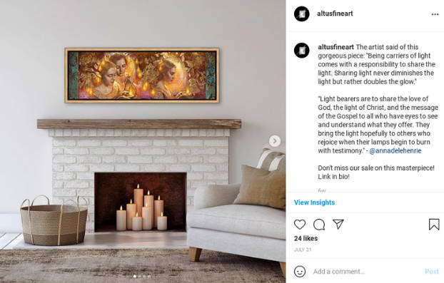 Instagram post featuring an environment shot with a panoramic painting of the ten viergins.