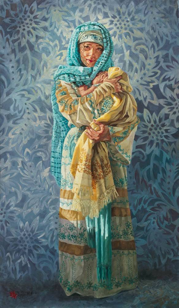 Colorful, patterned painting of Mary holding infant Jesus.