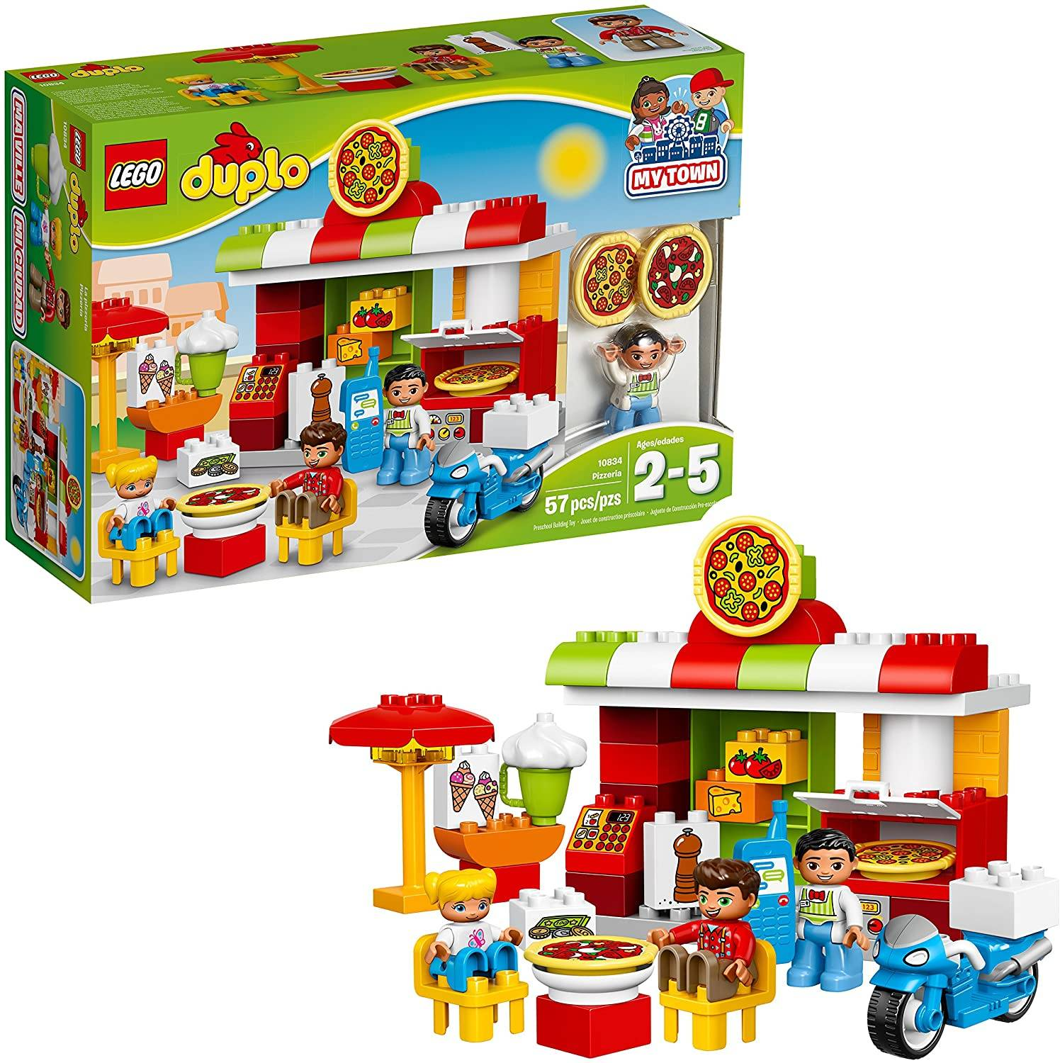 Town Pizzeria using Lego Duplo 10834 for Pre School Pre-Kindergarten Large Building Block Toys for young ones.
