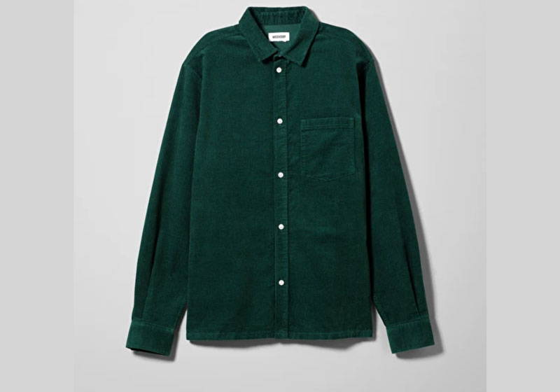 Men's green organic cotton cord shirt