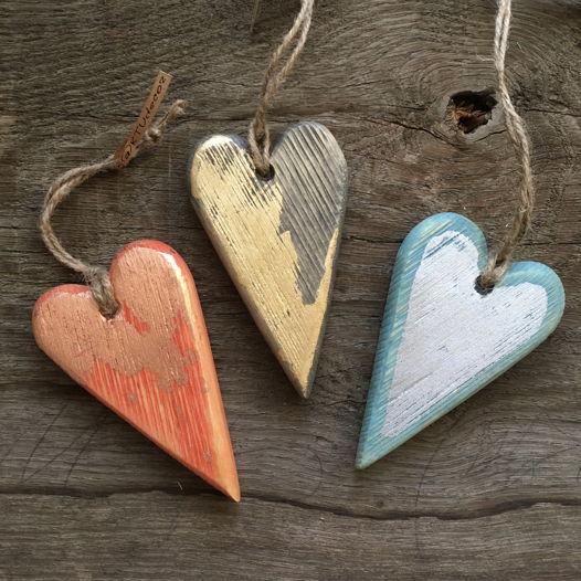 Деревянные сердечки красное золото, голубое серебро, золотое набор 3 шт