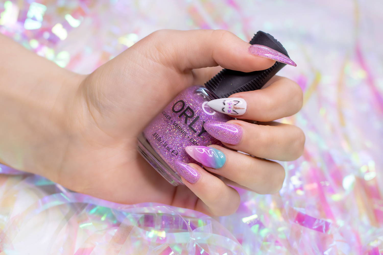 Unicorn nail art using ORLY GelFX gel polish