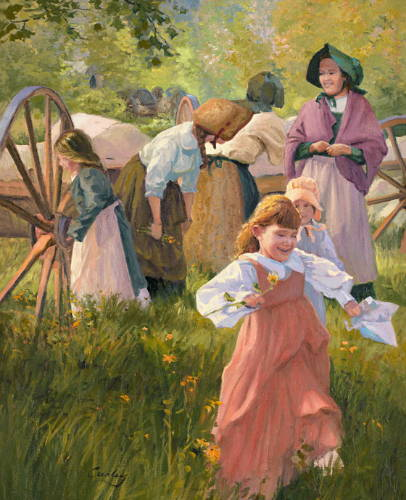 Pioneer family enjoying a sunny day, with children playing.