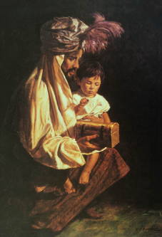 Painting of young Jesus sitting on the lap of a wiseman who is presenting his gift.