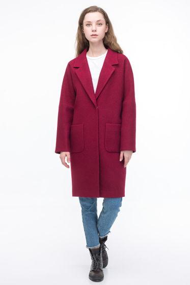 Пальто-кокон винного цвета