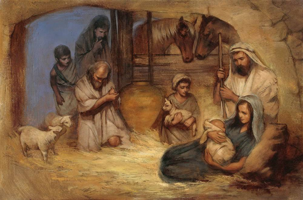 LDS Nativity art print of shepherds arriving to visit Joseph, Mary, and the baby Jesus.