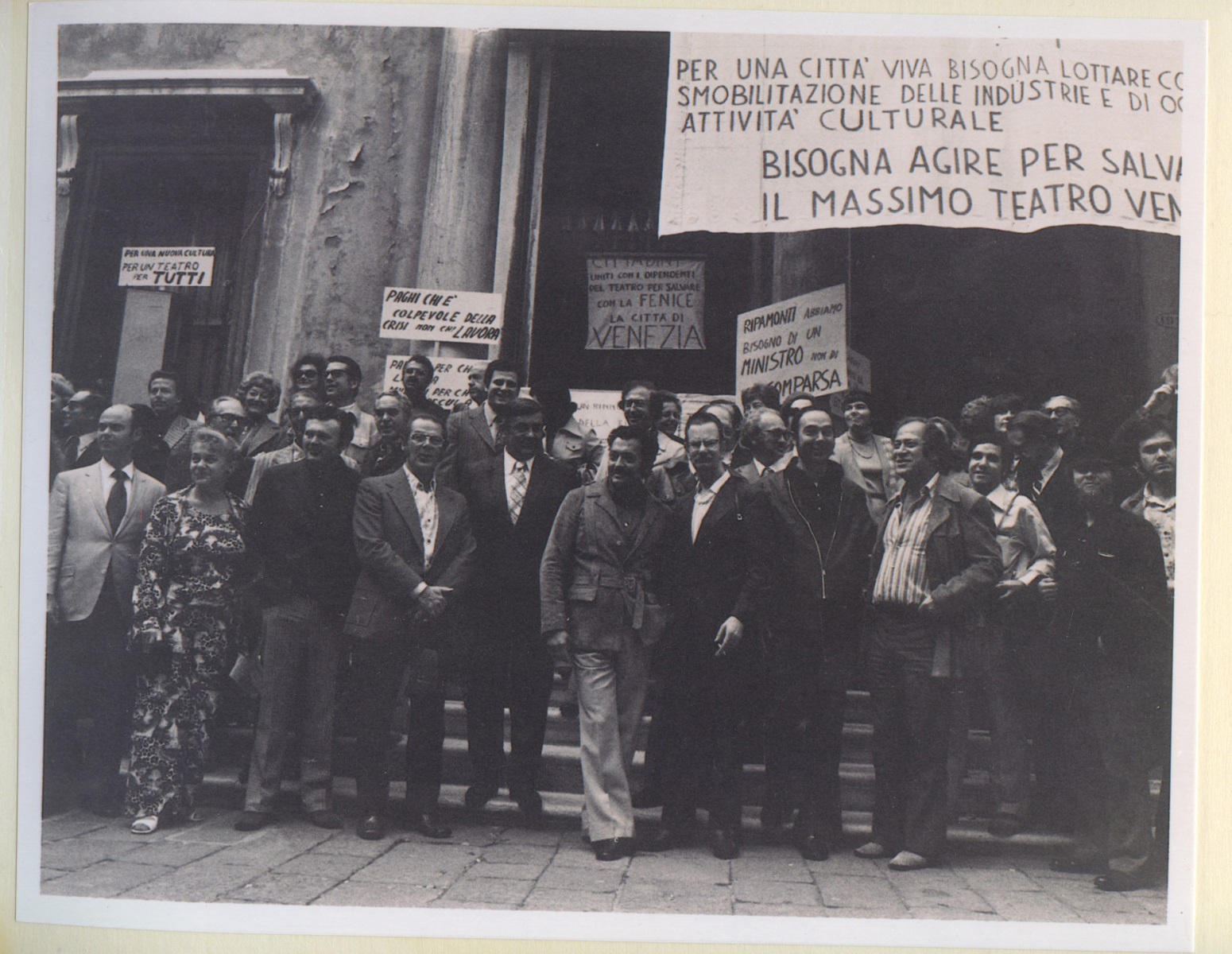 Zubin Mehta, Ernest Fleischmann, and members of the LA Phil join striking orchestra musicians in Venice in 1974.
