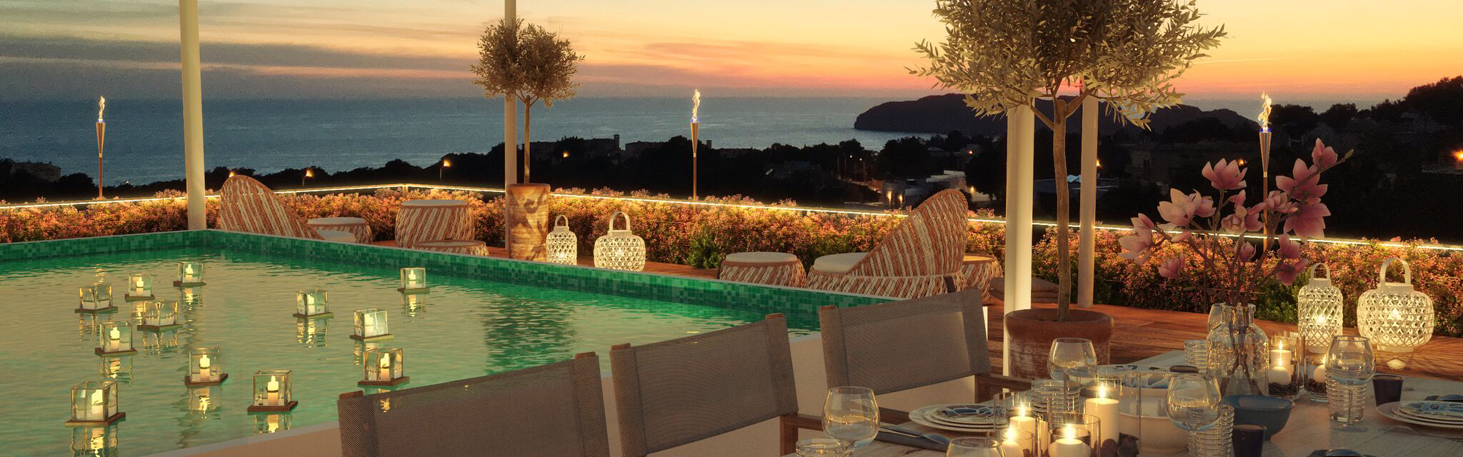 Santa Ponsa - Sea view roof terrace with private pool at GREEN ELEMENTS
