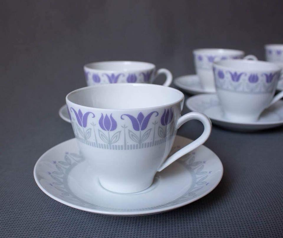 Модернистская чайная/кофейная пара с тюльпанами, Швеция 60г