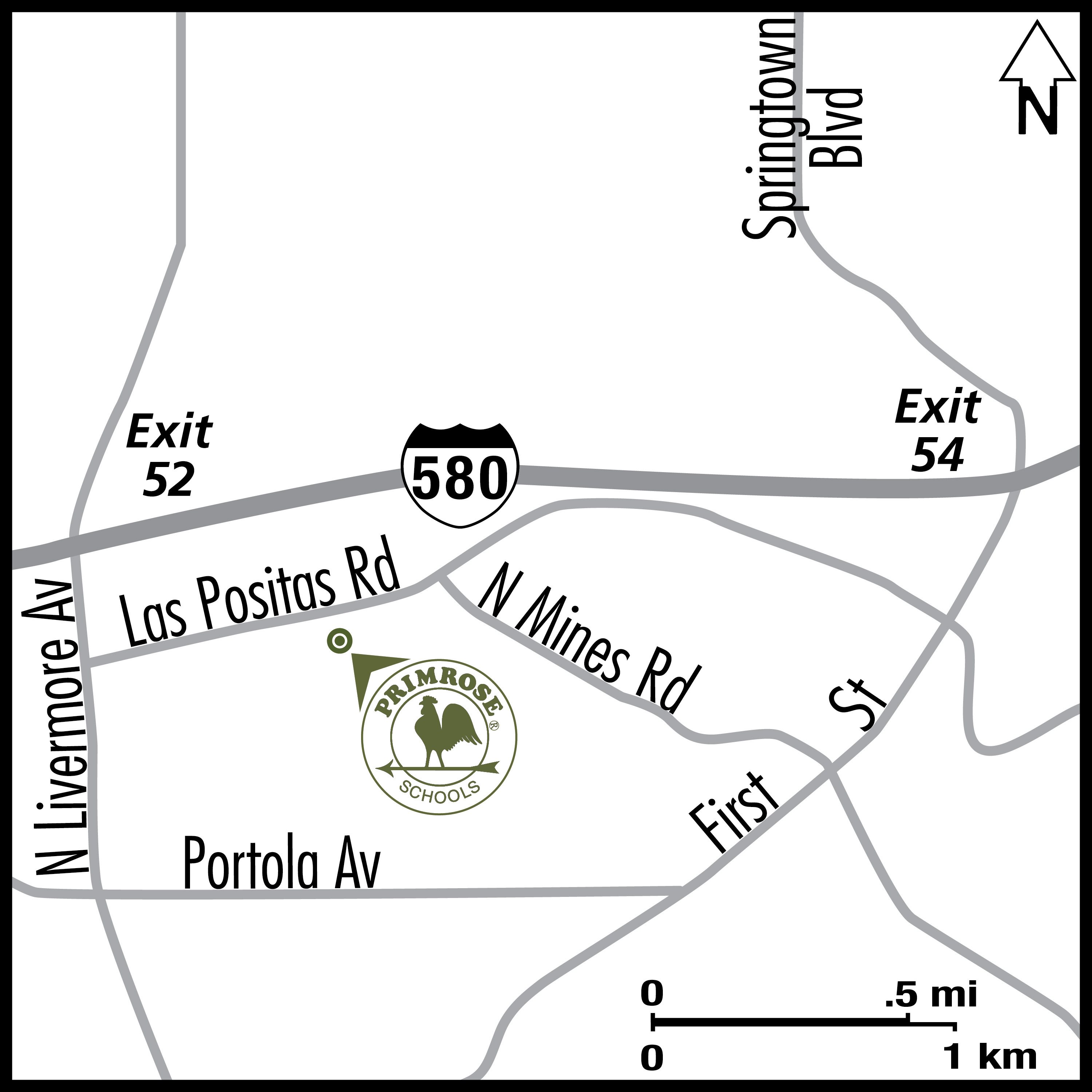 Map depicting the location of the Primrose school of Livermore
