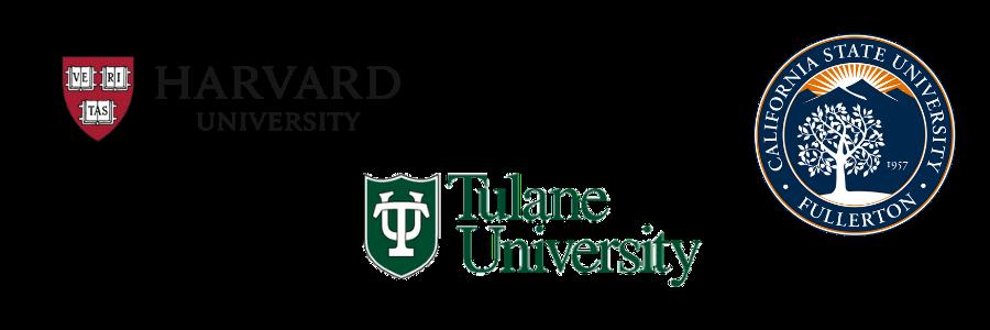 Harvard, Tulane, California State Fullerton Logos