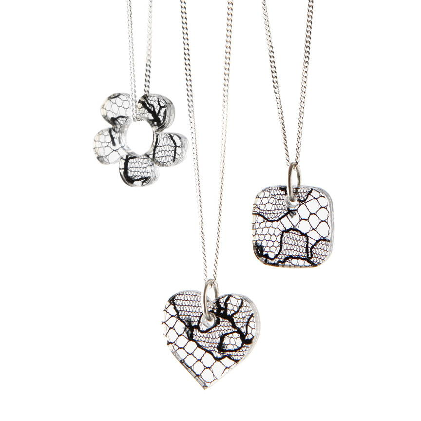 lace heart  pendants on chain in group of three - Lily Gardner London