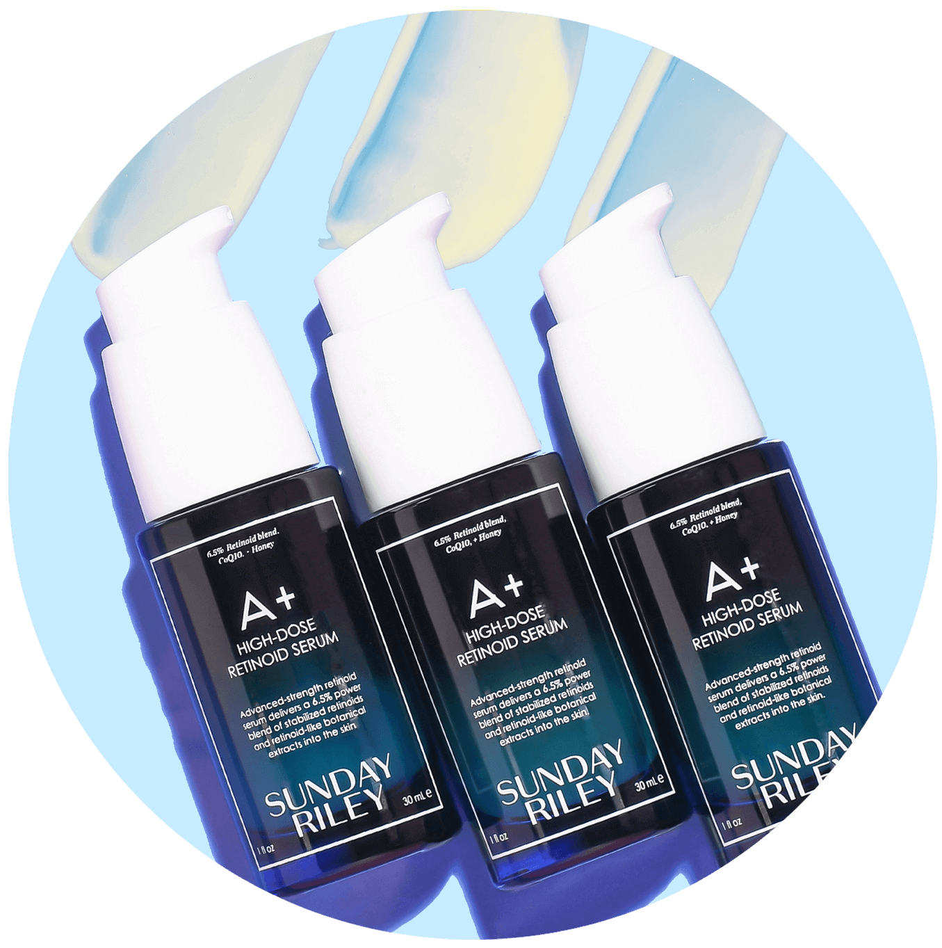 A+ high-dose retinoid serum bottles on blue background with goop