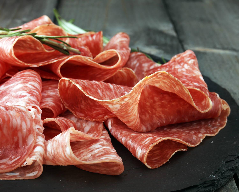 Display of artisanal salami
