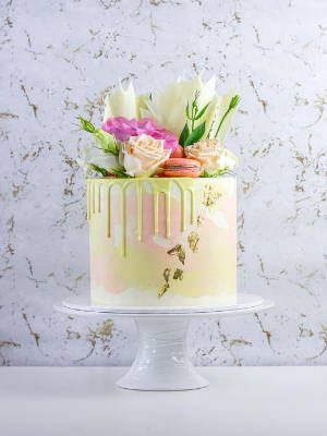 """6"""" Pastel Theme Cake with Florals, Macarons and Chocolate Shards"""