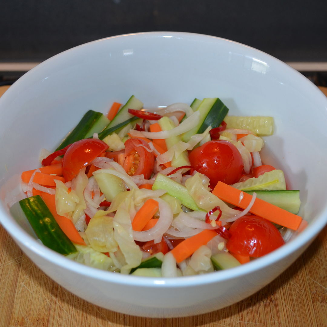 Date: 18 Feb 2020 (Tue) 32nd Side: Pickled Vegetable Salad (Acar Sayur) [229] [146.6%] [Score: 10.0] Cuisine: Malay, Malaysian Dish Type: Side Pickled Vegetable Salad (Acar Sayur) is a typical Malay kampung (village) dish.