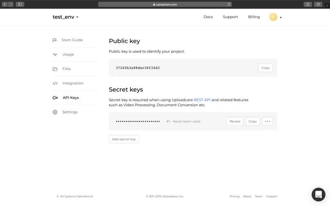 Secret Keys to manipulate images using REST API